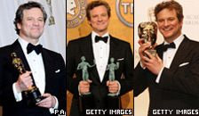 Three Images of Colin Firth (left to right) accepting awards which he won for the film The King's Speech (left image: PA; middle and right images: Getty Images)