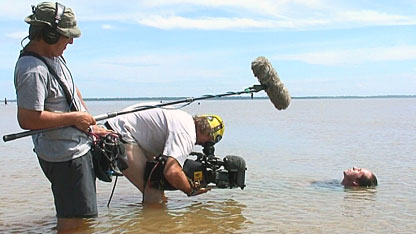 Bruce and film crew in the Amazon