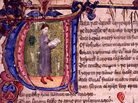 Illuminated manuscript of the prologue to 'The Canterbury Tales'