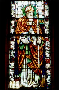 Stained glass image of St Patrick