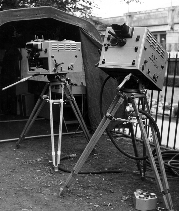 Two of the new C.P.S (Cathode Potential Stabilisation) Emitron cameras  prepared for televising the events in the Empire Pool, Wembley, during the 1948 Olympic Games.