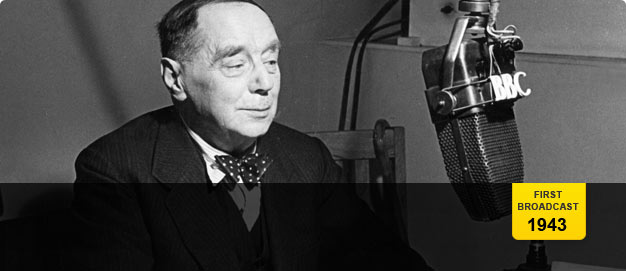 HG Wells speaking into a BBC microphone.