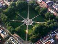 Aerial view of Queen Square in Bristol