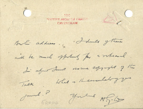 Page 2 of a note by HG Wells on his 'World peace' broadcast of 1929.