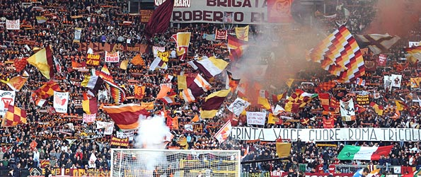 AS Roma fans at the Stadio Olimpico