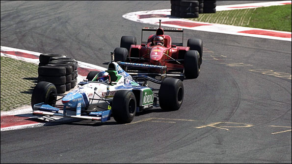 Michael Schumacher tries to pass Jean Alesi in the 1996 Italian Grand Prix