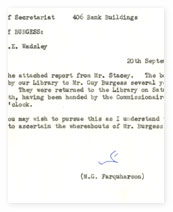 Memo about Burgess' library books.