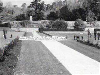 Black and white photograph of the gardens in their heyday