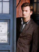 David Tennant (The Doctor) and the TARDIS