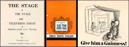 Composite Image - The Stage magazine advert, music hall program and Guiness Theatre advert
