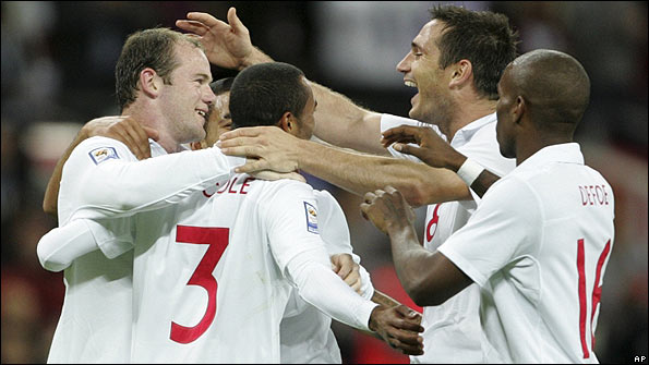 England players celebrate after scoring against Croatia