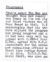 Programme Review Board Minutes for 'Dad's Army'