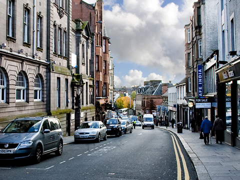 Bbc scotlands landscape paisley colour view down new street paisley a mixed street of shops with offices and sciox Image collections