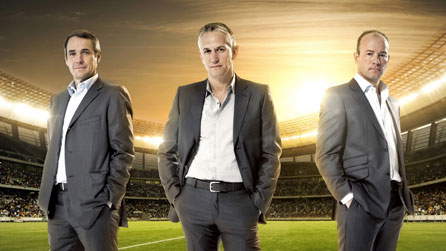 (L-R) Alan Hansen, Gary Linekar and Alan Shearer head the presenting team for the 2010 Fifa World Cup