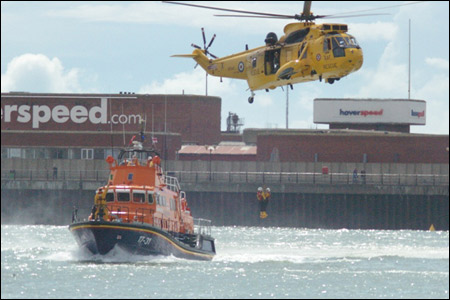 Rescue helicopter and lifeboat