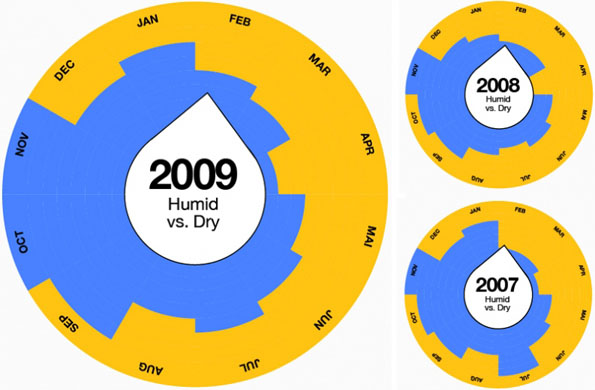 Circular bar charts of rainfall, for a year.
