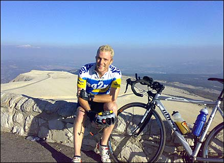 Tom at the summit of Mount Ventoux