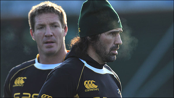 Bakkies Botha (left) and Victor Matfield train with the Springboks in London before Saturday's meeting with England at Twickenham