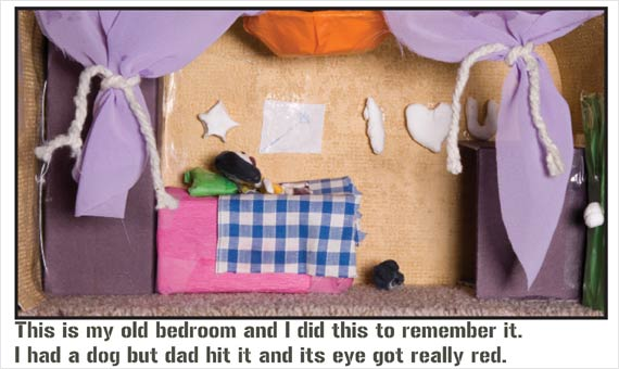 This is my old bedroom and I did this to remember it. I had a dog but dad hit it and its eye got really red.