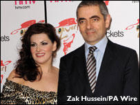 Jodie Prenger (left), who plays Nancy, and Rowan Atkinson, who plays Fagin