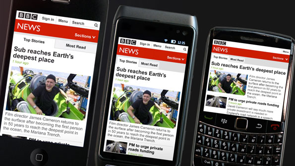 Views of Cameron's dive into the Mariana trench on three different phones