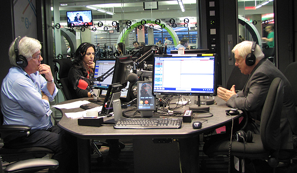 BBC Trust chairman Chris Patten talking to 5 live Drive presenters Peter Allen and Aasmah Mir