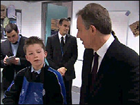 Tony Blair speaks to pupils at the Mad Acad