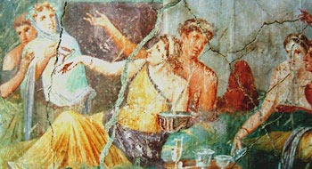 A Pompeian wall painting depicting a Roman dinner party, from the 'House of the Chaste Lovers'