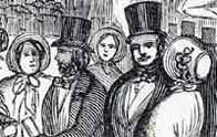Black and white illustration showing two Victorian men wearing top hats