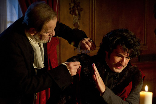 Bishop Crowther (Ronald Pickup) and Samuel Horrocks (Tom Ellis) in Pilate, part of BBC One's The Preston Passion.