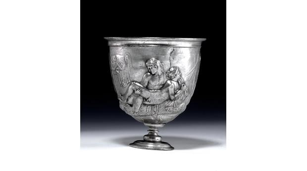 Another side of the ancient Roman silver cup. Copyright Trustees of the British Museum