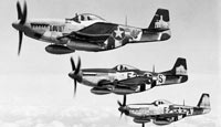 P-51 Mustangs flying over England