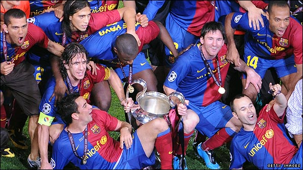 Barcelona celebrate their 2-0 Champions League Final win