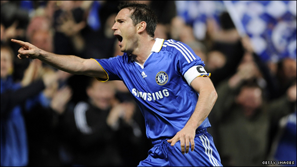 Frank Lampard celebrates one of his two goals against Liverpool