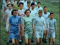 Children marching at Saltwell Park, 1944