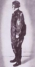 Man wearing an SOE parachutist suit - these were nicknamed 'striptease suits'