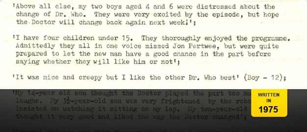 Audience research report on Tom Baker's first Doctor Who story.