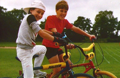 Two boys on bicycles photographed as part of the Domesday project