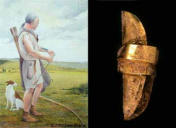 Artist Jane Brayne's depiction of how the Amesbury Archer might have looked and a gold earring from the second burial