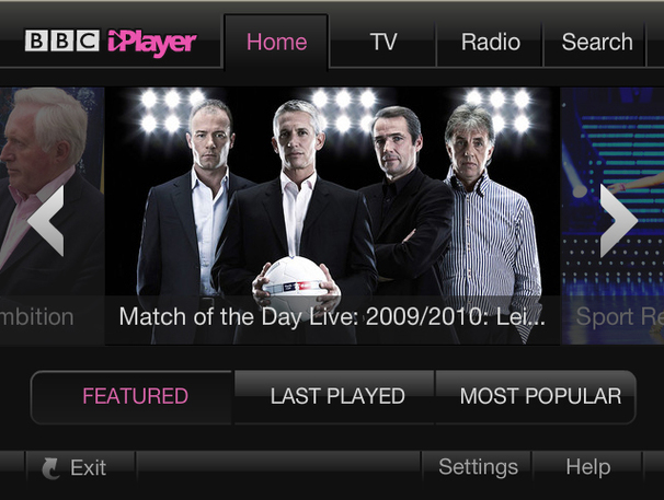 BBC iPlayer on Wii version 1.1