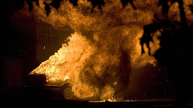 A car bomb exploding in Project Aphrodite