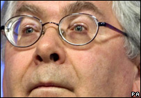 12/11/08 Bank of England Governor Mervyn King during a press conference at the Bank of England