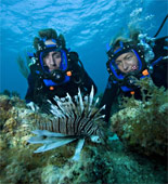 Philippe Cousteau Jr and Lucy Blue find a poisonous lionfish as they journey into the Atlantic Ocean