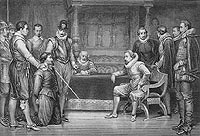 Guy Fawkes being interrogated by King James VI of Scotland and I of England