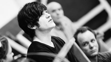 Iwan Rheon in rehearsal for The Devil Inside Him. Photo courtesy National Theatre Wales.