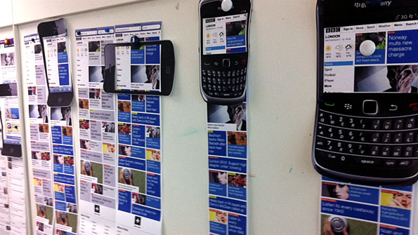 Mobile homepage mockups on a wall, viewed through cut-outs of different mobile phone models.