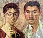 1st-century Roman couple depicted in a wall painting, the woman holding a stylus and the man a scroll