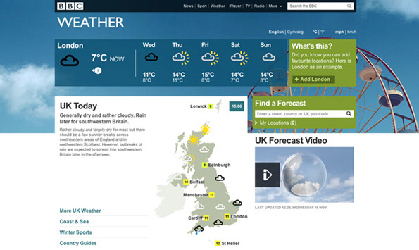 Screenshot of new BBC Weather homepage