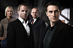 Spooks (l to r): Hermione Norris as Ros Myers, Rupert Penry-Jones as Adam Carter, Peter Firth as Harry Pearce and Richard Armitage as Lucas North