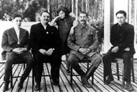 Photograph showing Andrey Zhdanov with Stalin